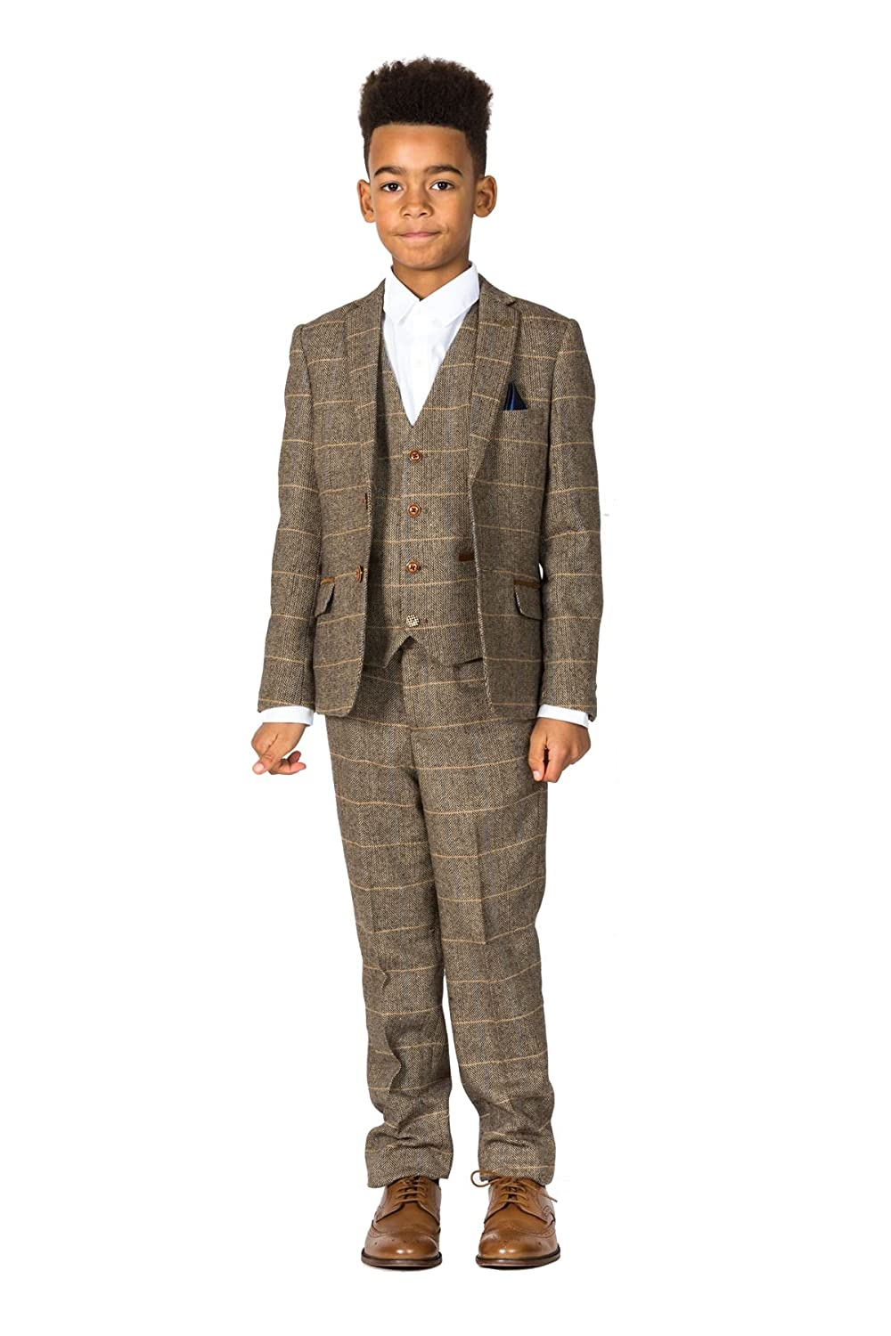 1930s Childrens Fashion: Girls, Boys, Toddler, Baby Costumes Marc Darcy Boys Tan Green Tweed Suit and Wedding Suit for Page Boy Or Prom Party 1-14 Years | Wedding Suits  AT vintagedancer.com