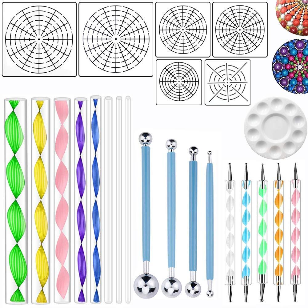 HTOYES Mandala Rock Dotting Tools Art Painting Set, 6 Style Mandala Stencils (S + M + L) 8/12/16 Segment + 8 Sizes Acrylic Rods + 9 Piece Double Sided Dotting Tools + 1 Paint Tray