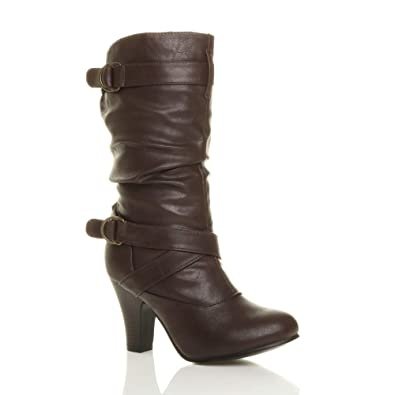 Ladies Mid Calf Boots Womens Rouched Slouched High Heel Zip Comfy Shoes Size