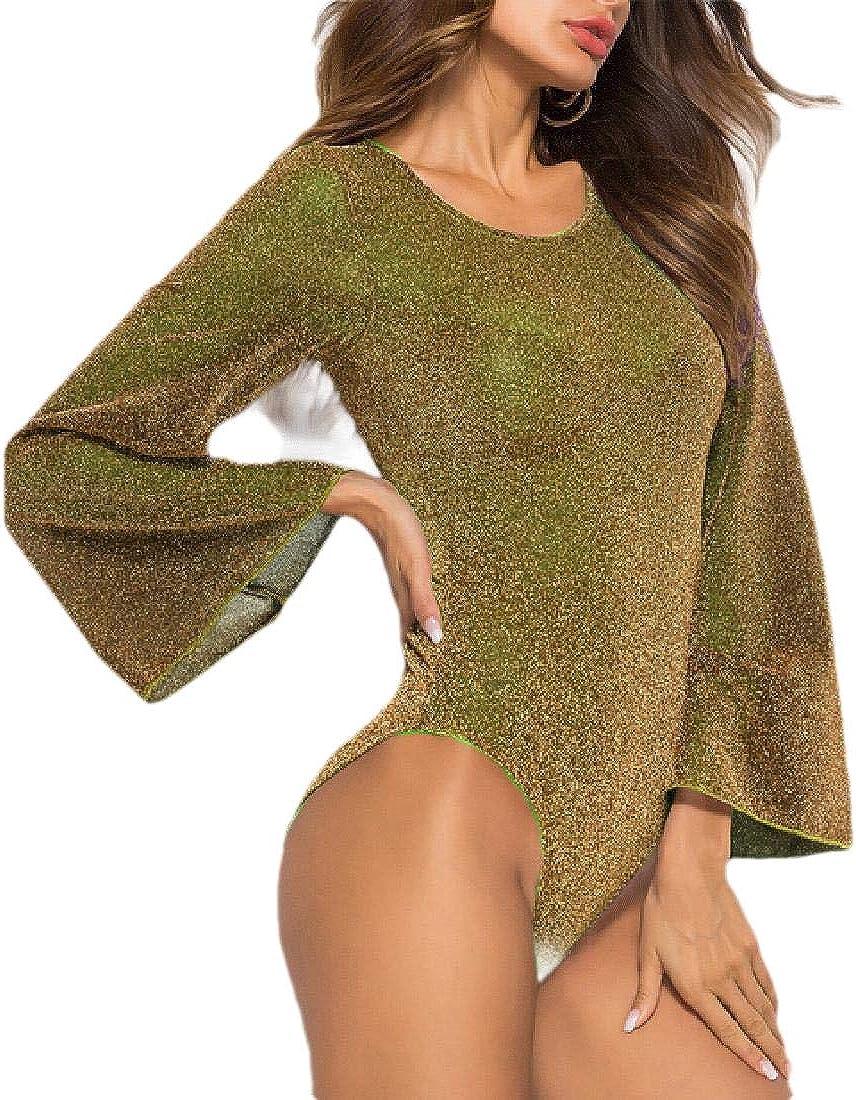 shinianlaile Womens Leotard Jumpsuit Long Bell Sleeve Bodysuit Clubwear Top