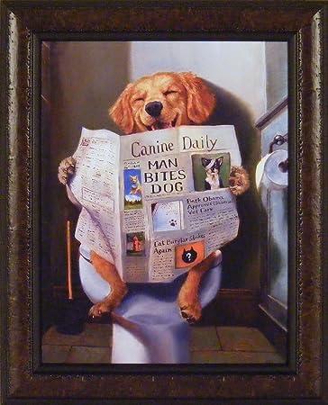 dog gone funny by lucia heffernan 18x22 humorous reading newspaper canine daily toilet bathroom framed art