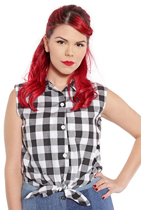 Rockabilly Dresses | Rockabilly Clothing | Viva Las Vegas Sleeveless Tie Front Blouse in Black & White Check by Hey Viv ! $24.00 AT vintagedancer.com