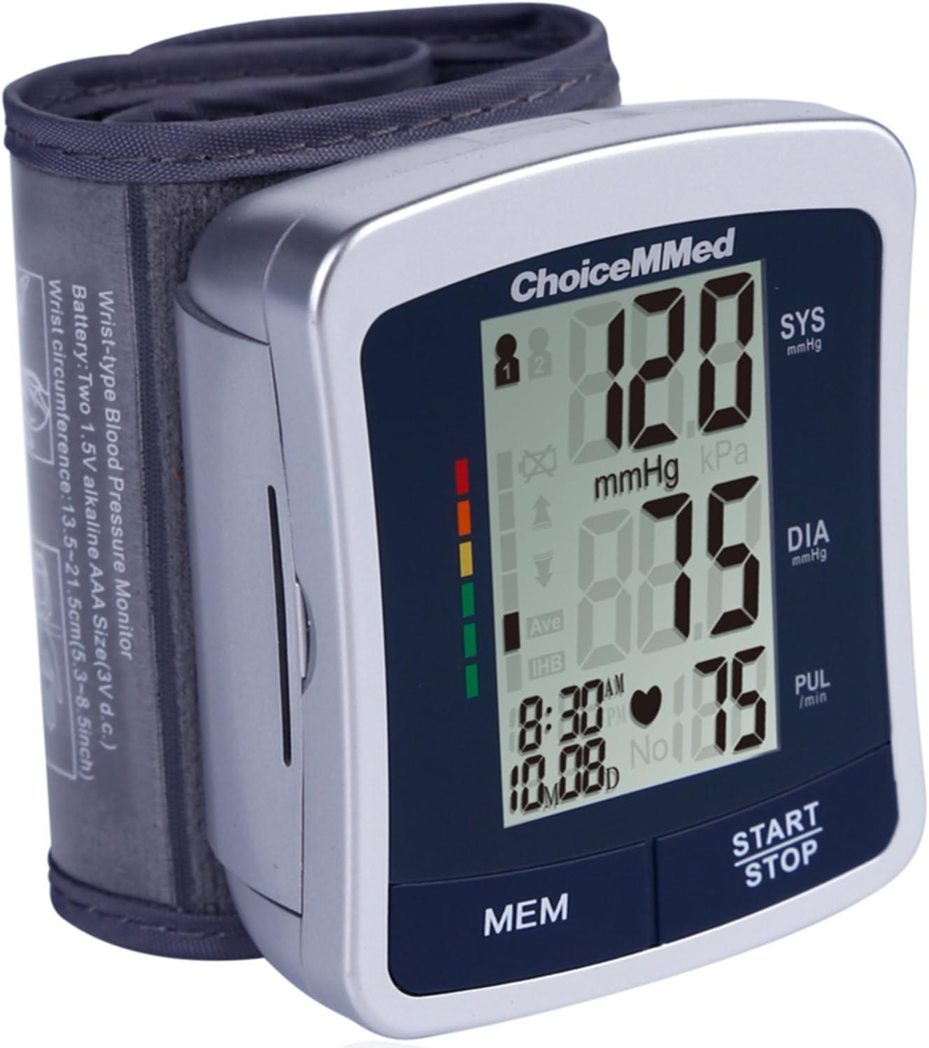 CHOICEMMED Wrist Blood Pressure Monitor – BP Cuff Meter with Display – Blood Pressure Machine up 5.3 -8.5 Wrists – Blood Pressure Tester Kit with Case – Blood Pressure Gauge with Memory