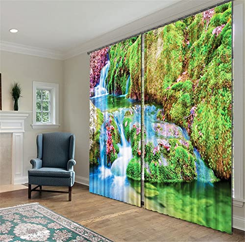 Newrara Mountain Stream Scenery Energy Saving 3D Curtain 2 Panels for Living Room Bedroom,Free Hook Included 118W106 L, Green