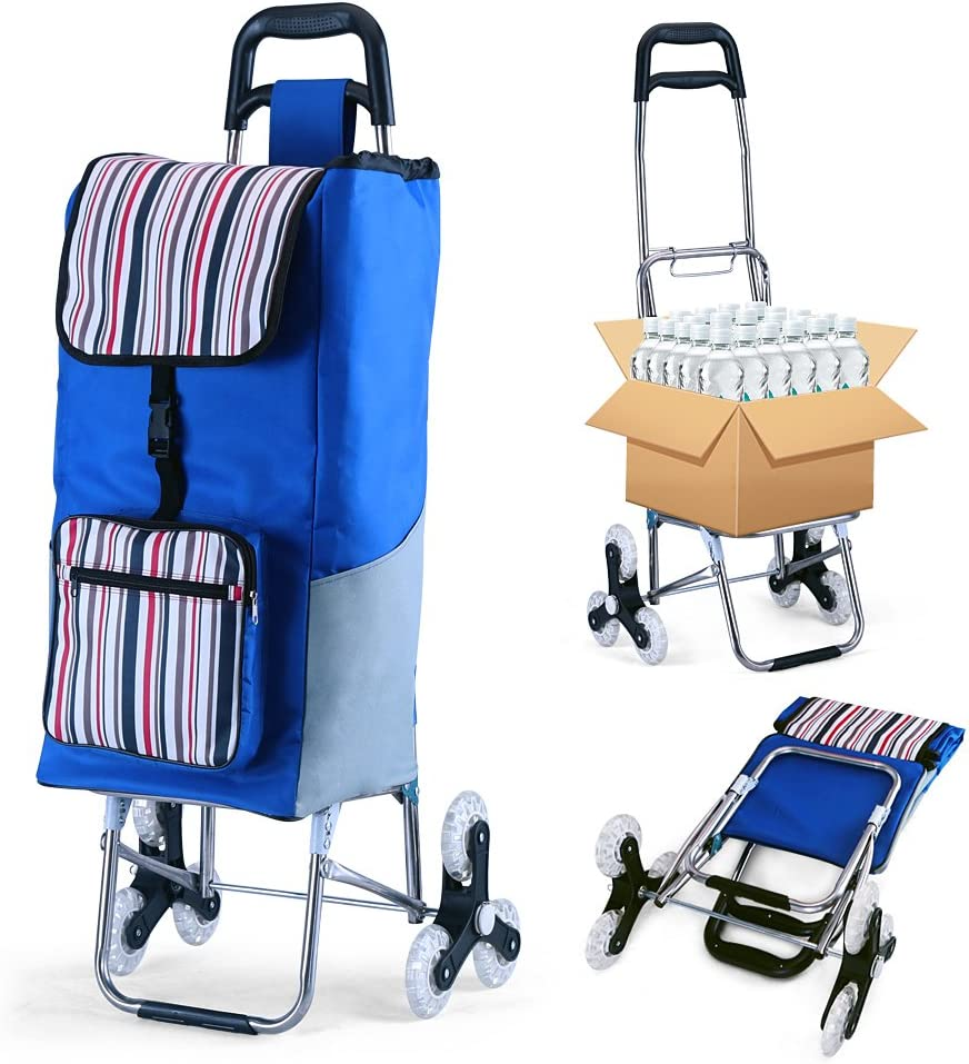 Folding Shopping Cart Grocery Utility Cart Stair Climbing Larger Storage Stainless Steel Frame