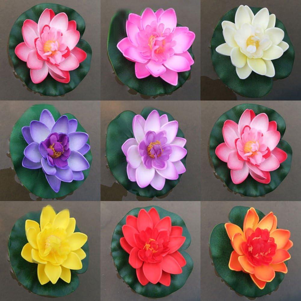 Lot de 4 4 Colors Gemini/_mall/® Flottant /étang D/écoration N/énuphar//Fleur de Lotus en Mousse 10/cm//10/cm