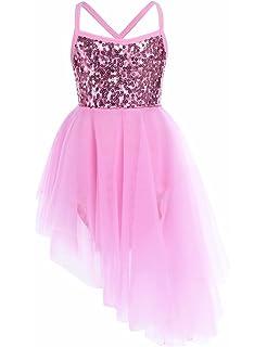 80cfb9b654 TiaoBug Girls Sequined Camisole Ballet Dance Tutu Dress Sweetheart Leotard