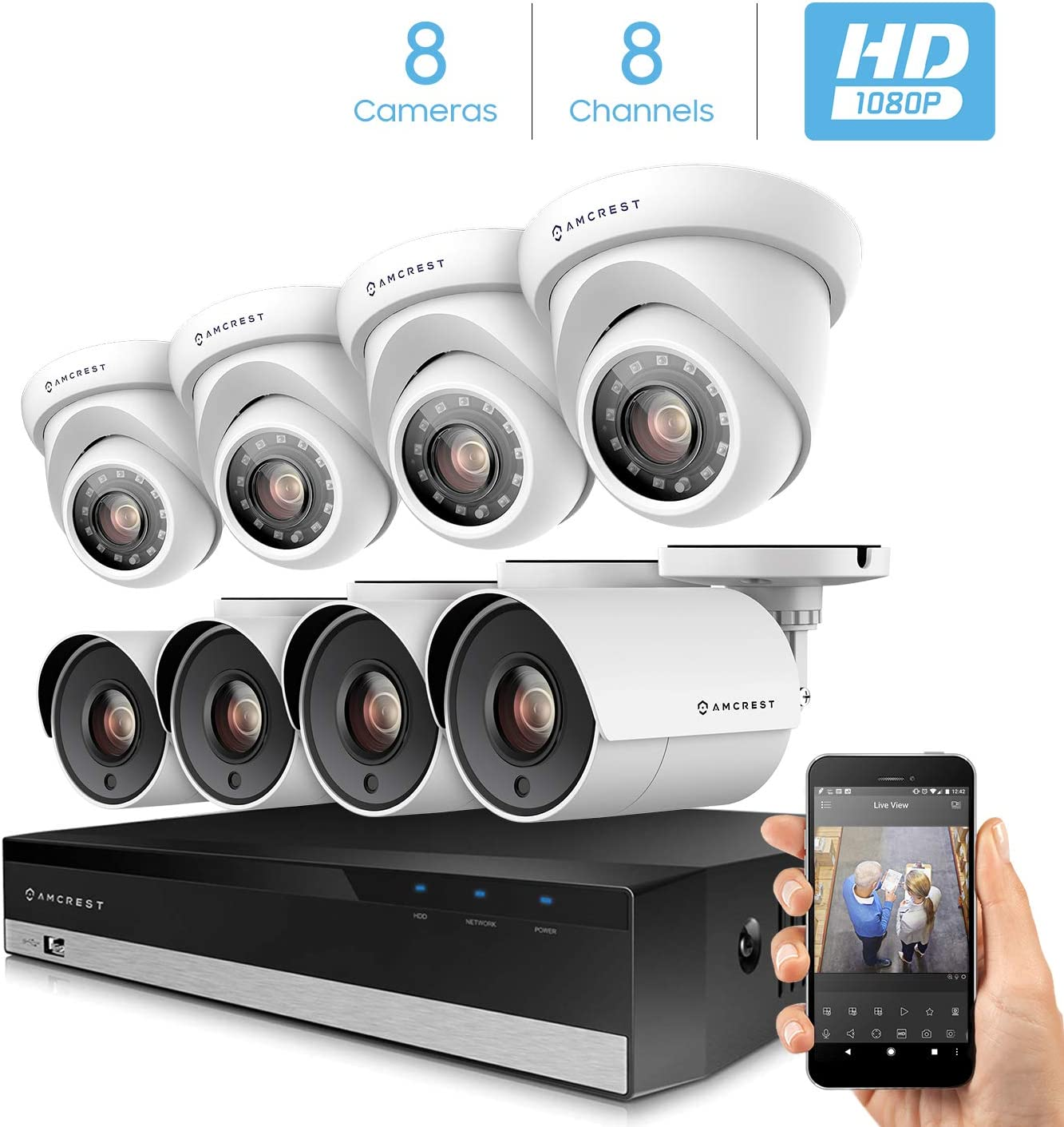 Amcrest ProHD 1080p 8CH Home Security Camera System with 8 x 2-Megapixel Weatherproof Outdoor Security Cameras, 2MP DVR w Pre-Installed 1TB Hard Drive, Night Vision, BNC Cables AMDV20M8-4B4D-W