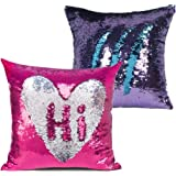 Glitter Pillow, MOCOFO Set of 2 Reversible Sequins Pillow Cover Magic Mermaid Pillowcase Parkly Fun Flip Sequins Throw Pillow Blue Purple Silver Couch Color Changing Decor Cushion Covers for Sofa16X16