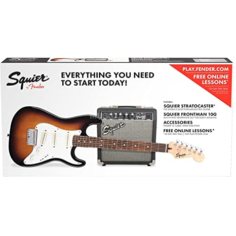 Kit eléctrica 3/4 Fender Junior Fender Squier Strat short-scale Pack Brown Sunburst