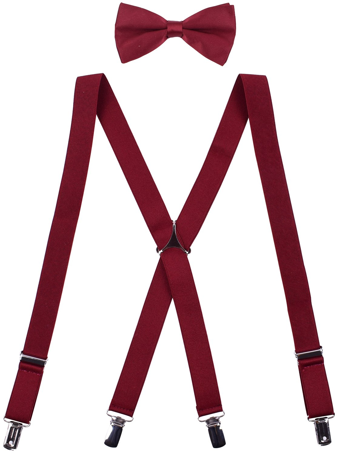 WDSKY Men's Clip on Suspenders and Bow Tie Set Adjustable X Back Burgundy by WDSKY