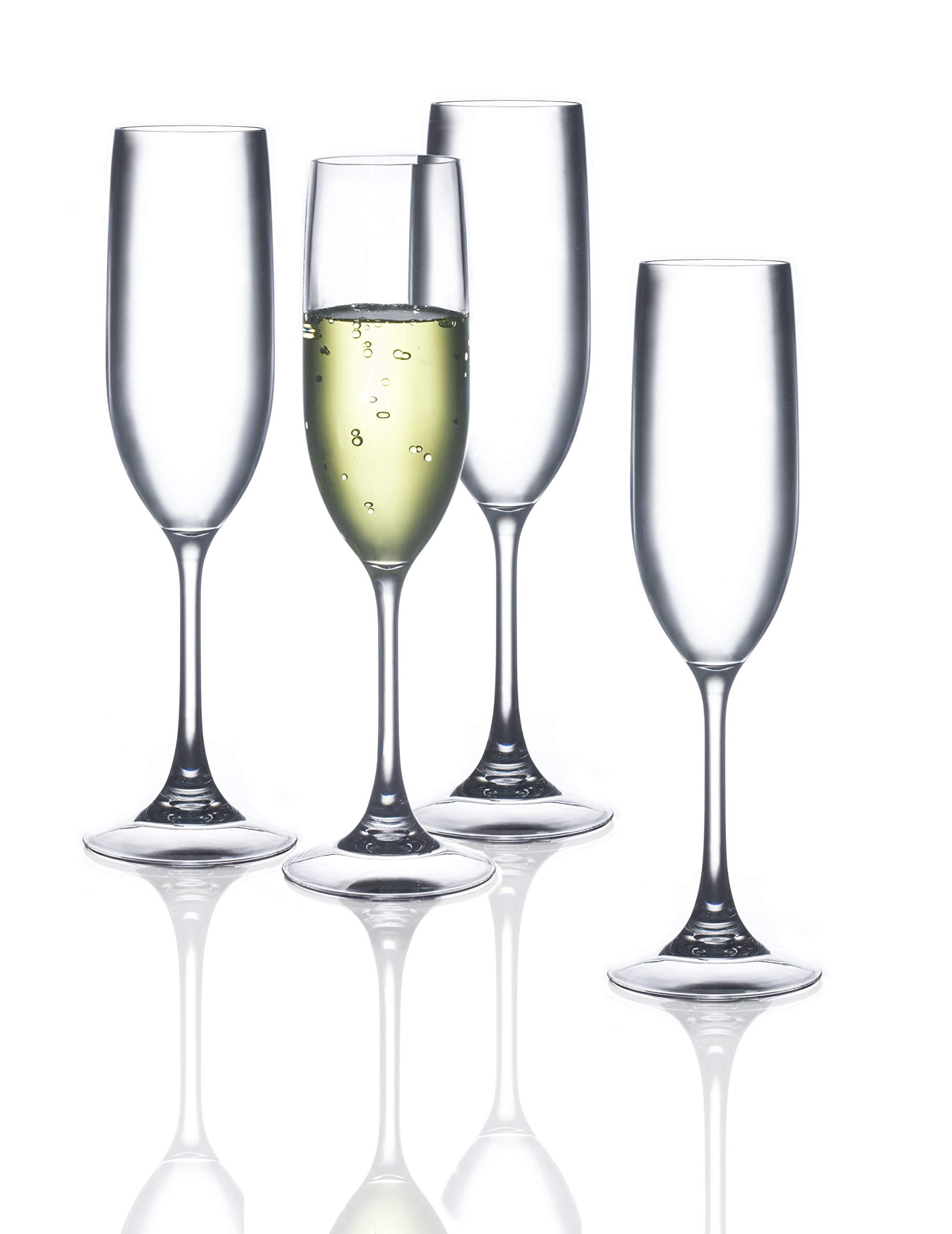 FDCuvée Drama Free Unbreakable Stemmed Champagne Flute 100% Tritan   Dishwasher Safe - 5 oz   Set of 4