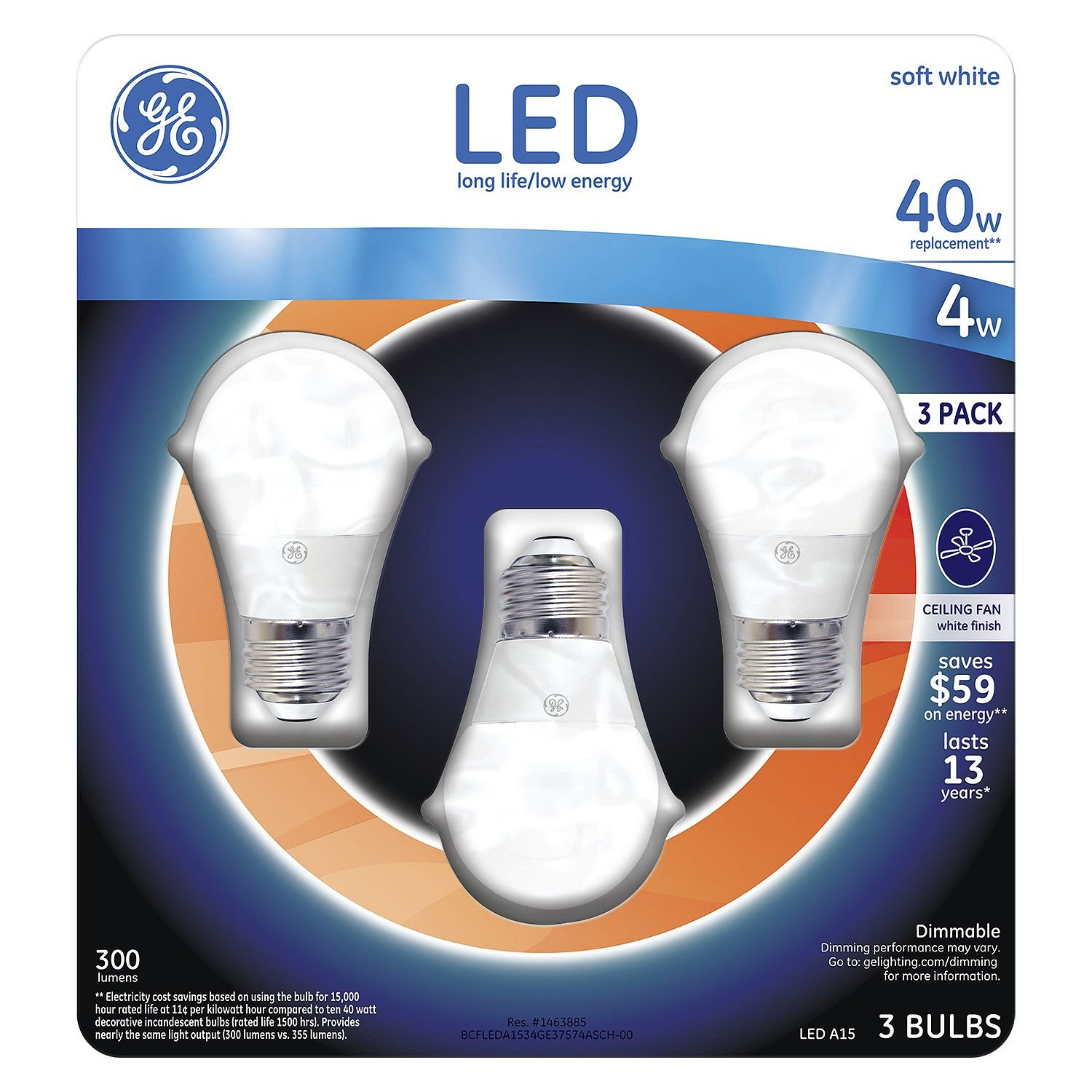 GE 4 Watt A15 LED Ceiling Fan Bulb Soft White 2700K 40W Equivalent