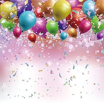 YongFoto 2x2m Vinilo Telón de Fondo Cumpleaños Globos Coloridos Cinta Confeti Fondo para Fotografia Fiesta Niños Boby Retrato Personal Estudio ...