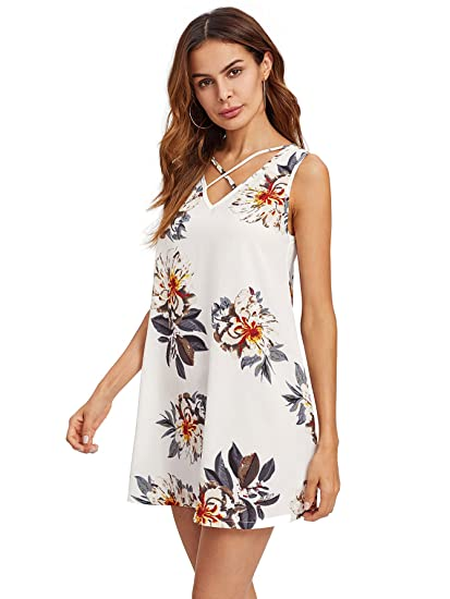 f0dbab897a2 Romwe Women s Floral Print Criss Cross Sleeveless V Neck A Line Beach  Dresses at Amazon Women s Clothing store