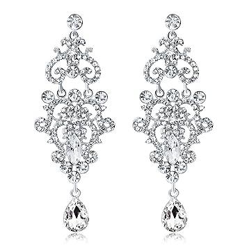EE/_ Women Long Dangle Chandelier Earrings Engagement Bridal Rhinestone Jewelry C