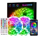Sanwo 65.6ft LED Light Strip with Music Sync And App Control