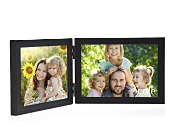philip whitney black wooden hinged double 5x7 horizontal picture frame
