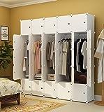 KOUSI Portable Clothes Closet Wardrobe Bedroom Armoire Dresser Cube Storage Organizer, Capacious & Customizable, White, 10 Cubes+5 Hanging Sections