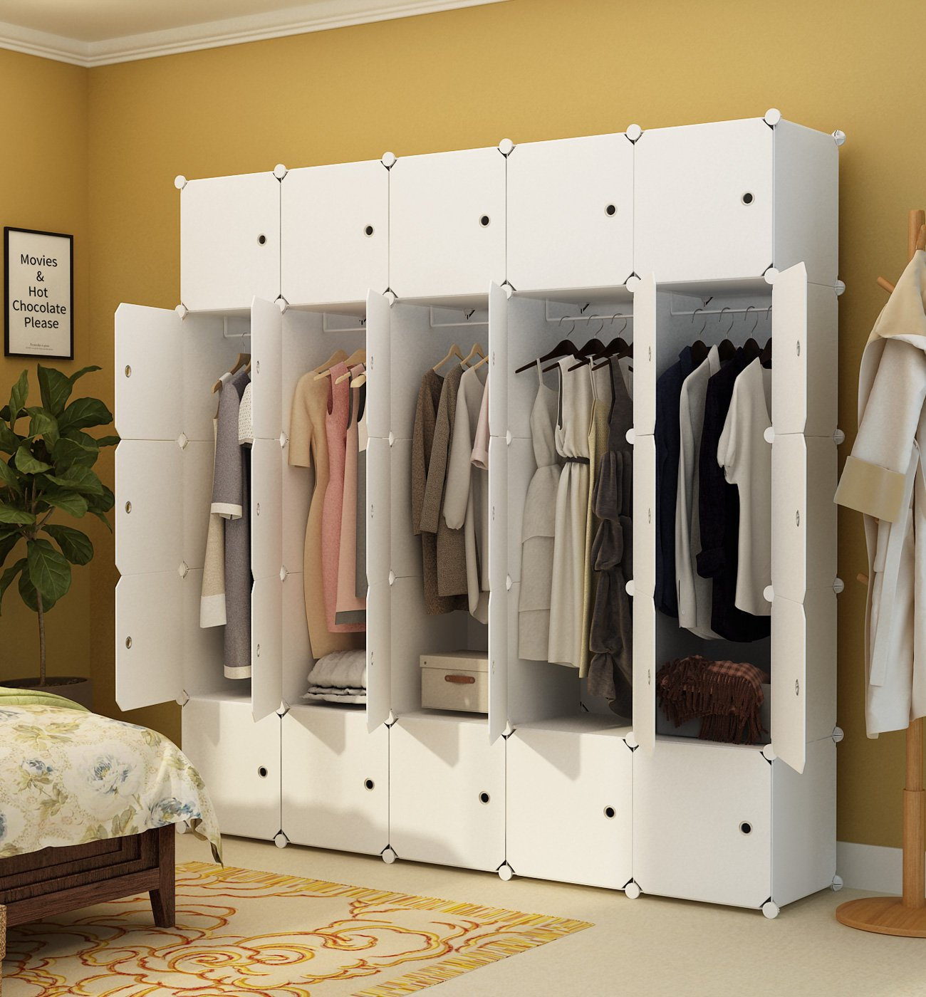 KOUSI Portable Clothes Closet Wardrobe Bedroom Armoire Storage Organizer with Doors, Capacious & Sturdy. 10 Cubes+5 Hanging Section, White