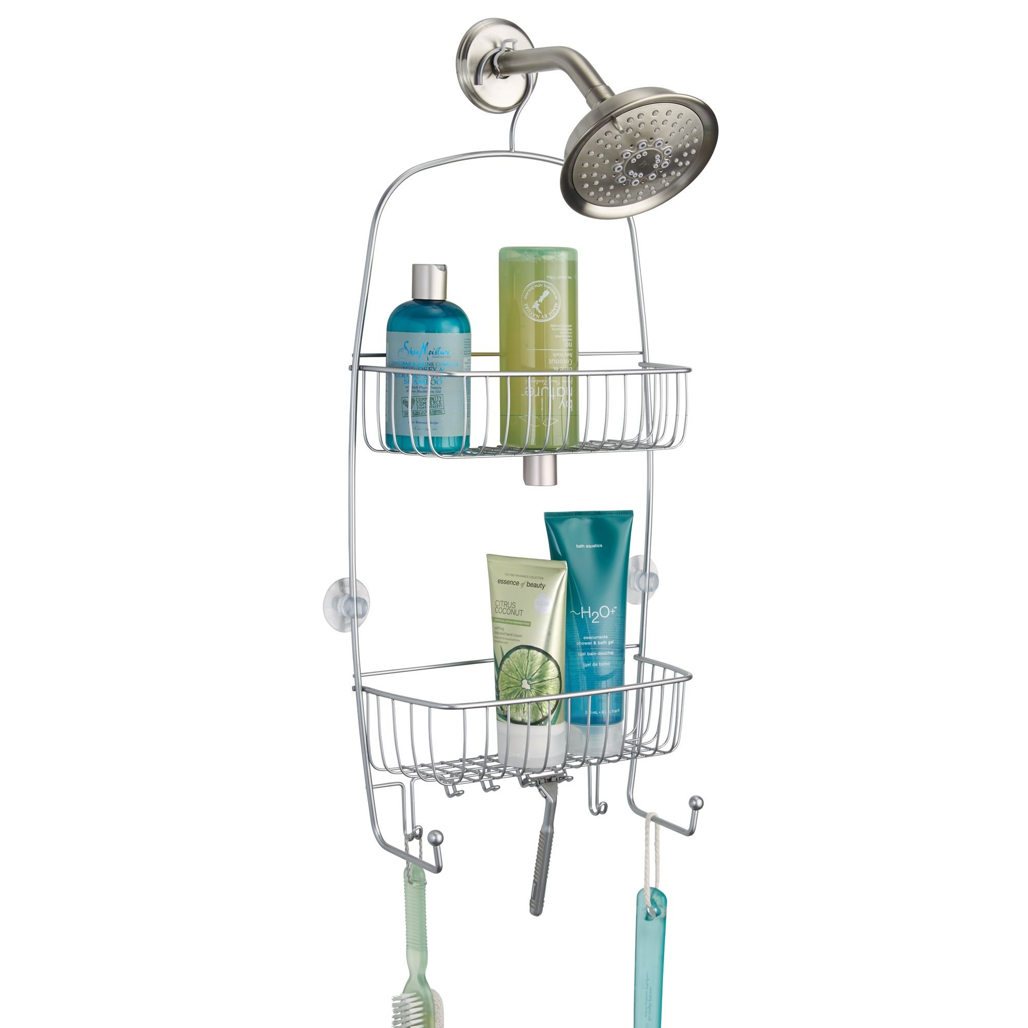 mDesign Extra-Large Hanging Shower Caddy Organizer with Hooks and Baskets � Two Tier, Silver