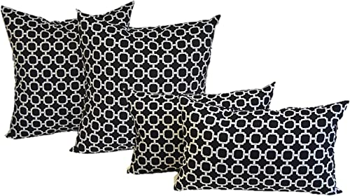 Set of 4 Indoor Outdoor Pillows – 20 Square Throw Pillows Rectangle Lumbar Decorative Throw Pillows – Black and White Geometric Hockley