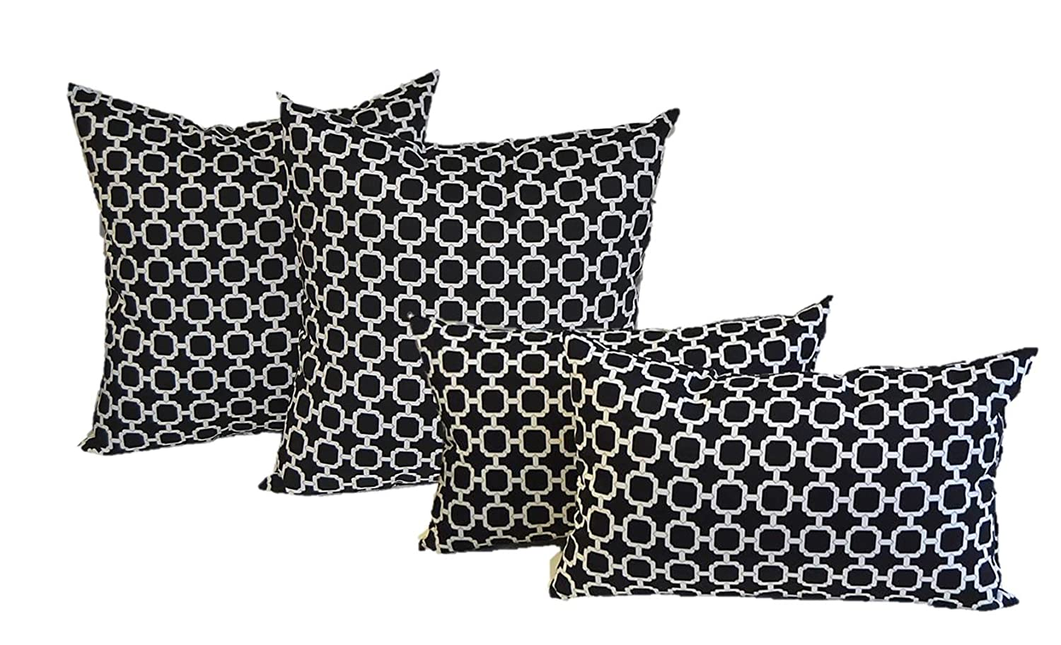 Resort Spa Home Set of 4 Indoor Outdoor Pillows – 20 Square Throw Pillows Rectangle Lumbar Decorative Throw Pillows – Black and White Geometric Hockley
