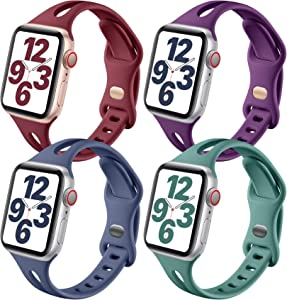 Getino Band Compatible with Apple Watch 42mm 44mm iWatch SE & Series 6 5 4 3 2 1, Stylish Soft Silicone Slim Replacement Strap for Women Men, 4 Pack, Blue Gray, Cyprus Green, Wine Red, Purple