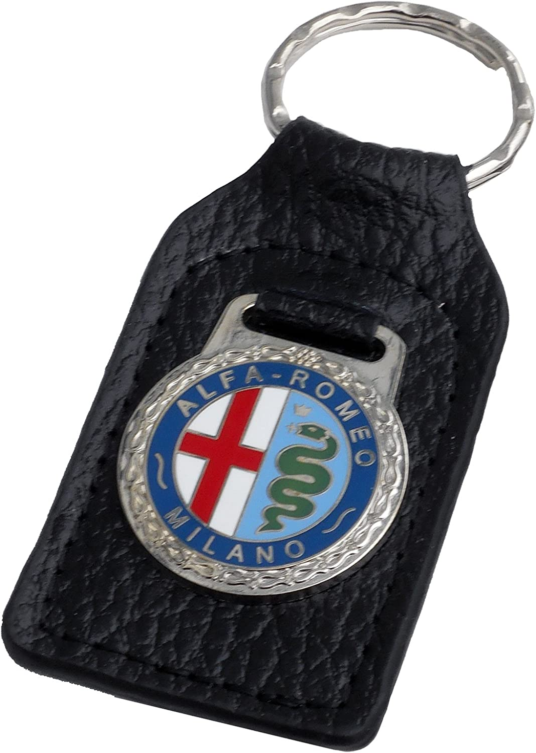 BLACK LEATHER KEYRING WITH ENAMEL ALFA ROMEO LOGO NEW