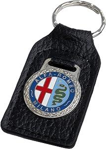 Triple-C Alfa Romeo Leather and Enamel Key Ring Key Fob