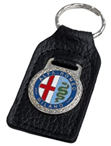 Triple-C Alfa Romeo Leather and Enamel Key Ring Key Fob