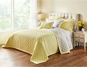BrylaneHome Reversible Quilted Bedspread - King, Yellow Soft Grey