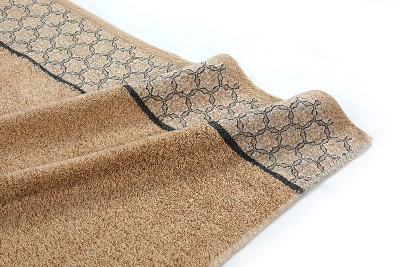 Beige Cloe Louis Lot de 2 Serviettes de Bain en Pur Coton peign/é 550 g//m/² 70 x 130 cm avec Bordure Jacquard Doux Lavable en Machine Serviette de Bain