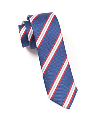 3db07943c385 Image Unavailable. Image not available for. Color: The Tie Bar 100% Woven  Silk Navy Pulsar Striped Tie