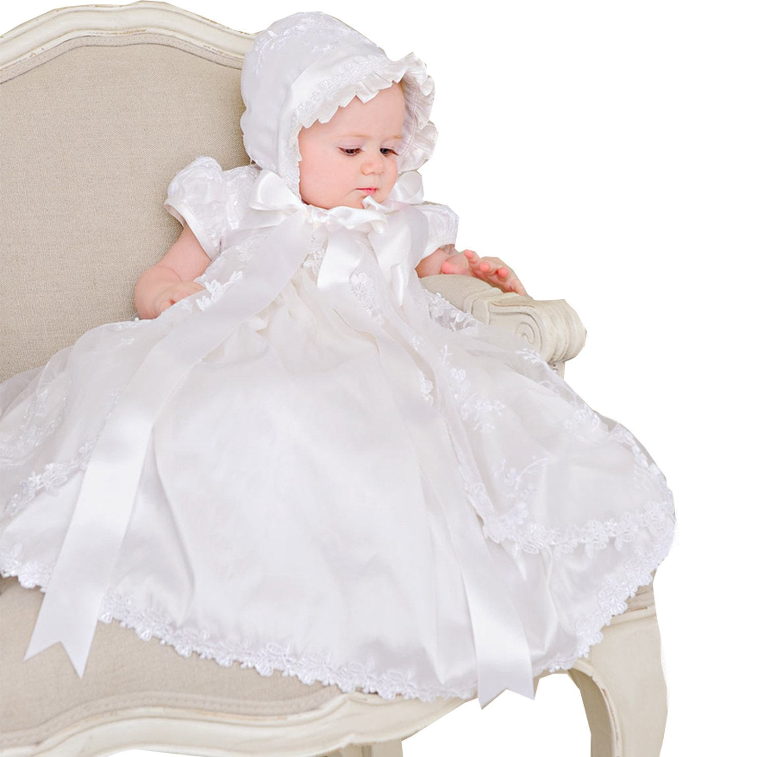 dressvip Embroidered Christening Dress Floor Length for Baby Girls