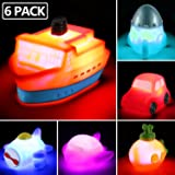 6 packs Light up Boat Bath Toy Set, Flashing Color Changing Light in Water, Floating Rubber Bathtub Toys for Baby…
