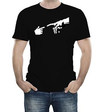 8c399c9b Michelangelo The Creation Of Adam Hand Of God Programmer Black Adult T-Shirt  - 3XL