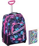 Trolley Bambina Seven + Cartellina A4 - Nero Rosa Azzurro - Spallacci a Scomparsa! Zaino 35 LT Scuola e Viaggio - Idea Regalo Natale