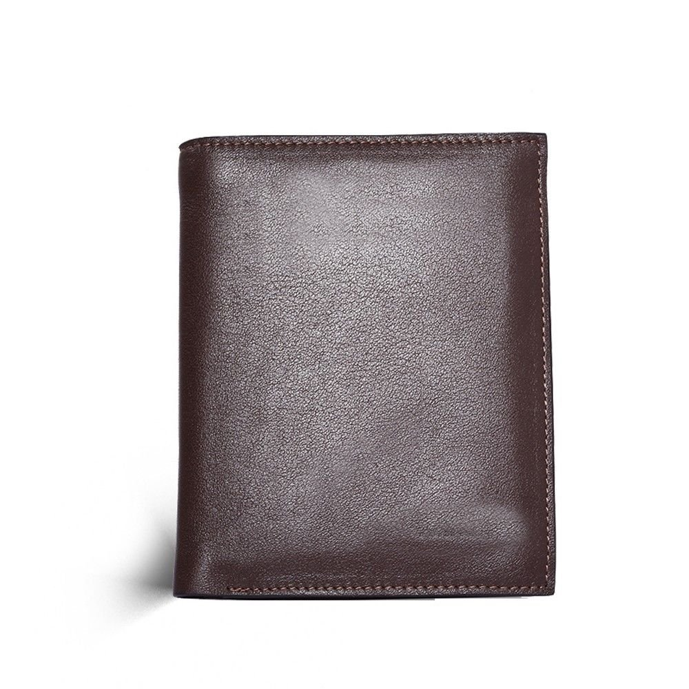 LIGYM Mans leather wallet a short purse with a pure color cover