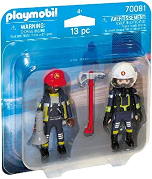 PLAYMOBIL- Duo Pack Duopack Bomberos, Color carbón (70081): Amazon ...