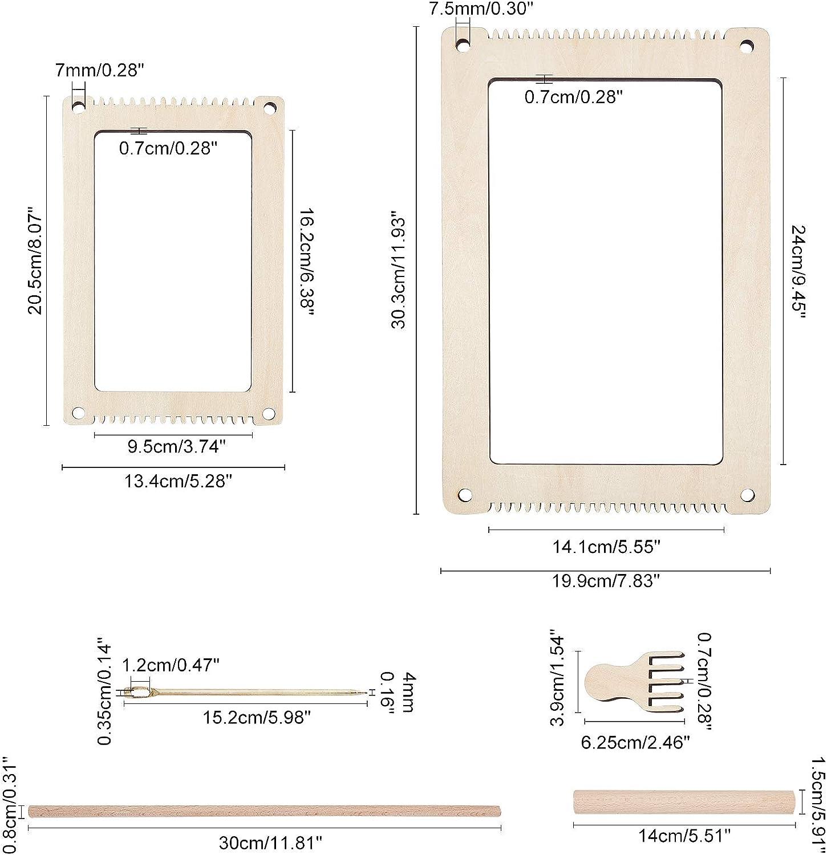 nbeads 2 Ensembles de Kits de M/étier /à Tricoter en Bois Bricolage Machine /à Tricoter /à la Main pour Kit de Tissage pour Enfants D/ébutants avec Aiguille et Fourchette de Fer et B/âton