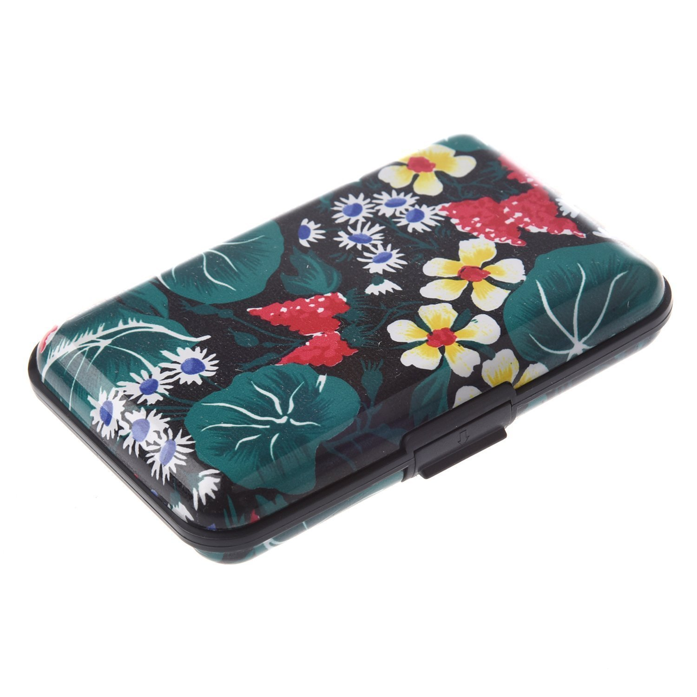 SODIAL(R) Color Metal Aluminum Business ID Credit Card Case Wallet Holder Box Purse Pocket - Black Lotus 015394A9