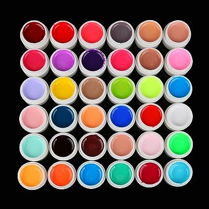 36 uñas postizas de gel UV de extensión de color puro para ...