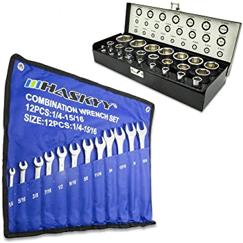 Pulgadas Llave de Tubo Tuercas Conexión Caja de Tuercas + Pulgadas Maul Anillo Llave Harley Herramienta - 36tlg.: Amazon.es: Bricolaje y herramientas