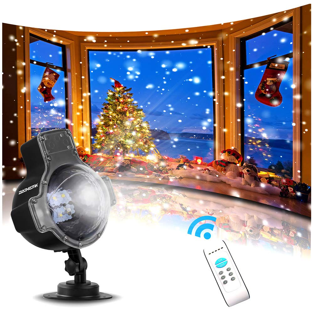 Zeonetak Snowfall LED Lights Christmas Projector Light Rotatable Snowflake with Wireless Remote Control Holiday and Party Indoor Outdoor Decoration by Zeonetak