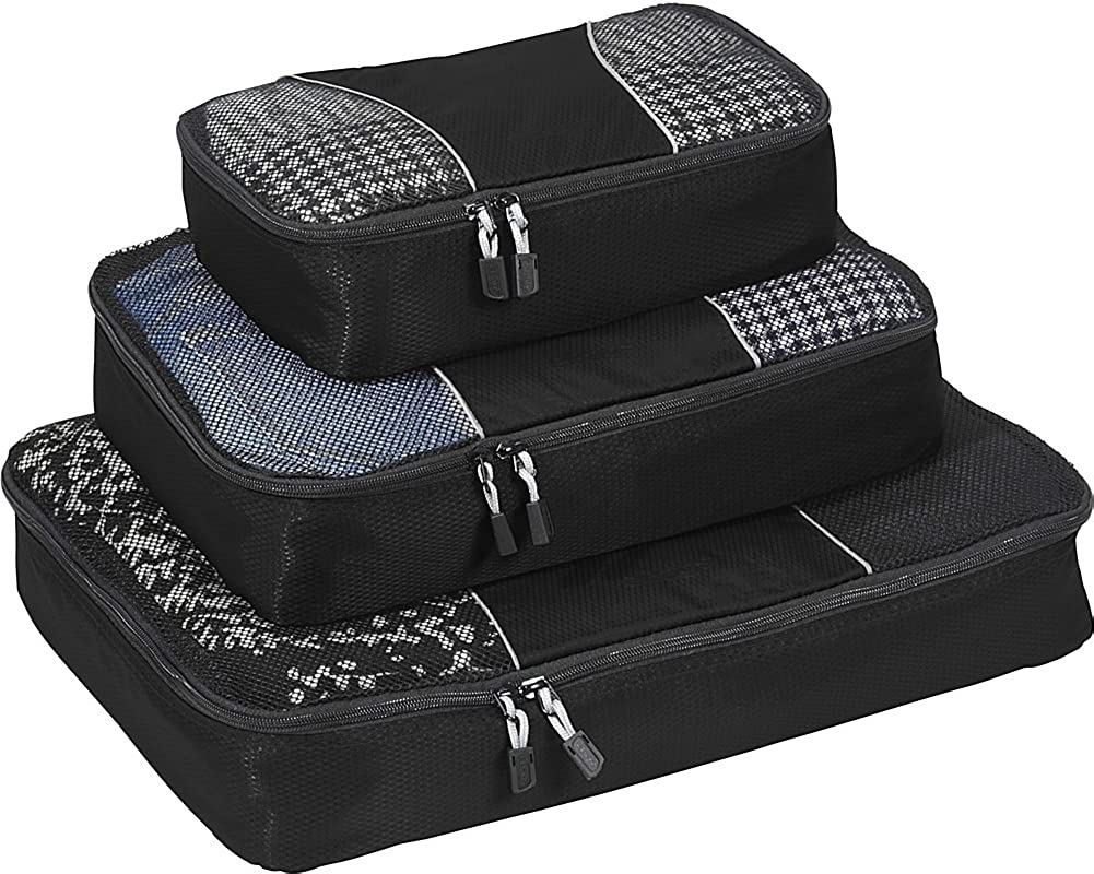 Organizers 3pc Set - Black eBags Slim Classic Packing Cubes for Travel