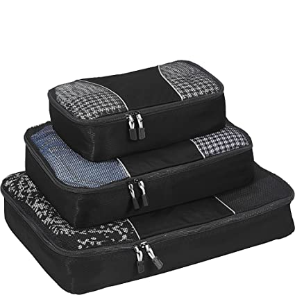 2c5a81b767ea eBags Classic Packing Cubes for Travel - 3pc Set - (Black)