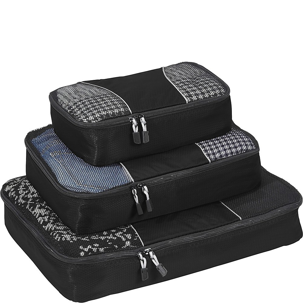 eBags Packing Cubes for Travel - 3pc Set - (Black)