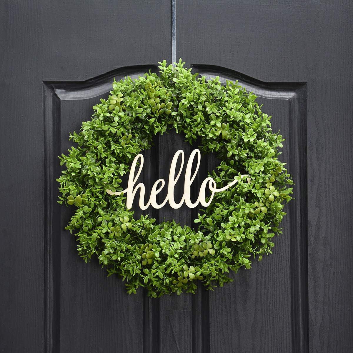 FARMHOUSE BOXWOOD WREATH,Wreath for Front Door Wreath,Year Round Wreath Grapevine Wreath,Fall  Wreath,Wedding Wreath Burlap Wreath