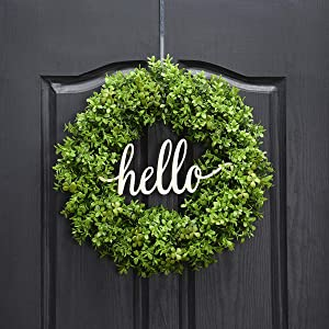 QUNWREATH Handmade 18 inch Handmade Grass Series Wreath,Gifts Package,Free Hooks,Hello Letter,Wreath for Front Door,Rustic Wreath,Farmhouse Grapevine Wreath,Light up Wreath,Everyday Wreath,QUNW18